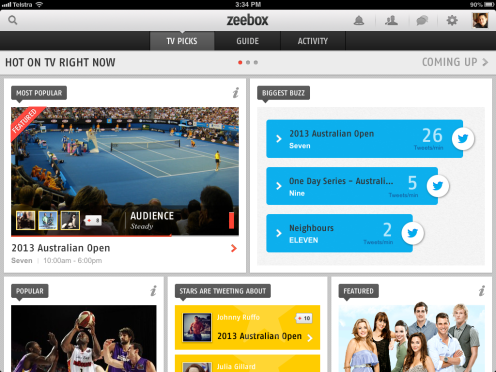 Zeebox dashboard