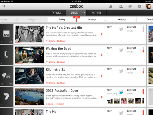 Screenshot of the Zeebox Social TV programming guide.